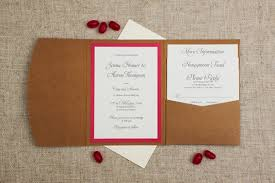 Rustic Lace Fuchsia Pink Pocketfold Wedding Invitation