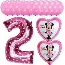 13pcs Pink Blue Mickey Minnie Baby 2 Years Old Kids Birthday Balloons Foil Helium Latex Globos