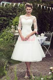 Ivory Rustic Lace And Tulle Tea Length Illusion Elbow Sleeve Wedding Dress 1
