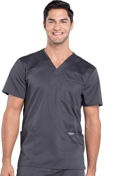 Cherokee Workwear Revolution Men's V-Neck Scrub Top - S - Pewter