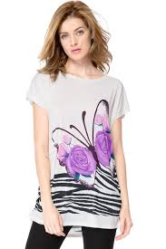 charming and luxurious style butterfly print short sleeve white