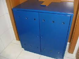 waschbecken unterschrank blau schrank badezimme