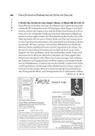 Clara Schumanns Briefwechsel Mit Emilie Und Elise List T H E A STELLT VOR