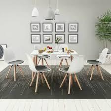 vidaxl 7 tlg essgruppe sitzgruppe tischset esszimmer stühle weiß und schwarz