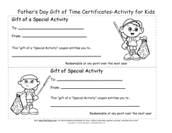 Kids Gift Of Time Certificates For Fathers Day