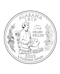 Alabama State Quarter Coloring Page