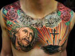 Spectacular Crusifixion Chest Tattoo