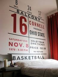 Wall Art Ideas Design Basketball Ticket Teenage Adorable Bedroom Furniture Couch Candle Book Space Seating Chair Mural For Boy Awesome