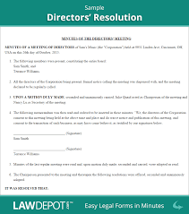 Directors Resolution Form Free Board Resolution Document US