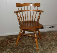 Ethan Allen 6051-10 Swivel Solid Maple Windsor Style Chair Nutmeg ...