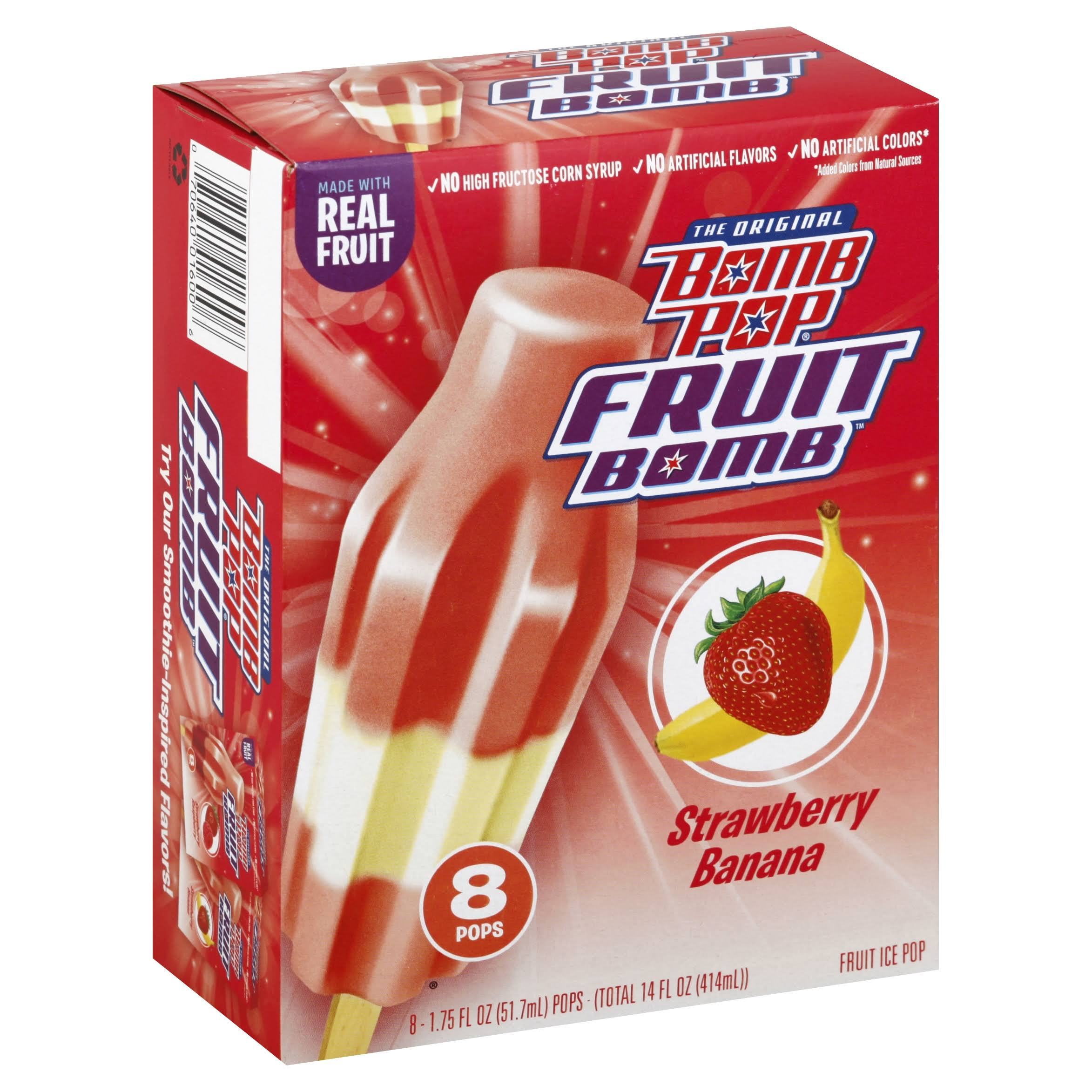 Bomb Pop Fruit Bomb, Strawberry Banana - 8 pack, 1.75 fl oz pops