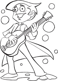 A Boy Playing Guitar On 4th Of July Coloring Pages