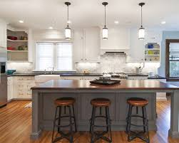 awesome trio pendant lights hung above interesting diy kitchen