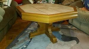 80er jahre wohnzimmer tisch mit fliesen 90x90cm 8eckig eiche