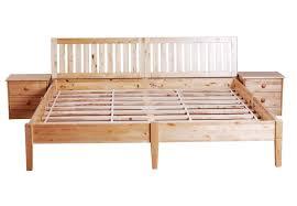 queen wood platform bed frame with ladder headboard and bedside