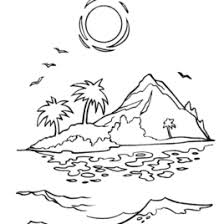 Sunset In An Island Coloring Page Beach Pages Of