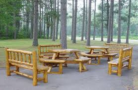 FurnitureAwesome Outdoor Log Furniture Patio Sets With Varnished Finish On Concrete Flooring Awesome