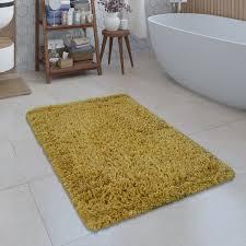 moderne badematte badezimmer teppich shaggy weich gelb