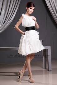 celebrity inspired white short one shoulder party bridesmaid