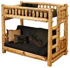cedar futon single ladder right log bunk bed vintage cedar
