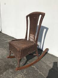 Rocking Chair Antique Woven Wicker Rocker Rustic Primitive ...