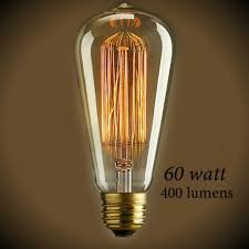 vintage squirrel cage tear drop filament light bulb 60 watt