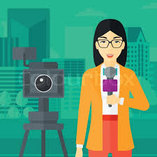A Camera Filming And An Asian Reporter Standing With Microphone On City Background Vector Flat Design Illustration Square Layout