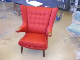Authentic Hans Wegner Papa Bear Chair by Modern Furniture Reupholstery Hand Sewn Leather Upholstery Nyc