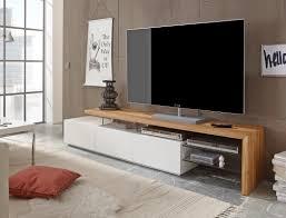 lowboard 204x40x44cm weiß eiche tv board tv möbel tv schrank