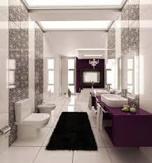 einrichtung badezimmer grau muster fliesen weiss lila