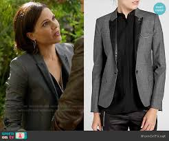 the kooples siege wornontv s grey plaid blazer with leather lapel on once