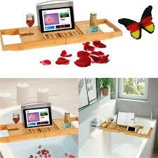 gedeckter tisch badewannentablett badezimmer tablett