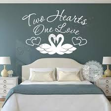 Two Hearts One Love Romantic Bedroom Wall Stickers Quote Swans Vinyl Decor Decals