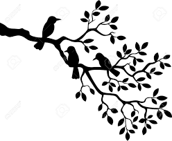 Cartoon tree branch with bird silhouette Stock Vector