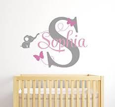 Custom Elephant Name Wall Decal for Girls Baby Room Decor Nursery Wall Decals