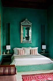 Oriental Style Bedroom With Jade Green Wall