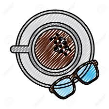 A Coffee Cup In Dish And Glasses Top View Vector Illustration Drawing Color Image Stock