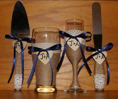 Champagne Flute And Beer Glass With Cake By CarolesWeddingWhimsy Set Of 4 Navy Blue Rustic WeddingsRustic Wedding