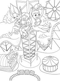 Thrill From A Free Fall This Tower Coloring Book Black Lines On White Background