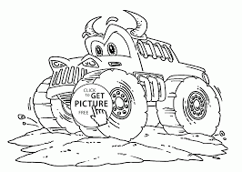 Funny Monster Truck With Rigs Coloring Page For Kids, Transportation ...