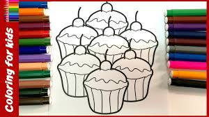 Coloring Pages Cupcakes Kids Fast Drawing Videos For Shosh Channel