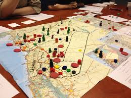 Using A Modified Commercial Map For The Initial Game Board Large Red Disks Are