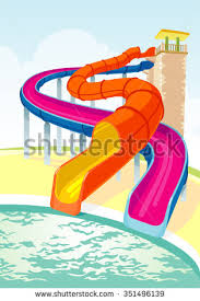 Water Slides Intertwined Long Pool Slide And Serpent Summer Theme