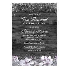 Gray Wood Purple Floral Vow Renewal Invite