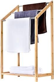 toilettree products bambus handtuchhalter für badezimmer 3 ebenen freistehendes strandtuch poolside rack mit boden ablage organizer für