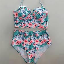 high waist set brazilian floral beach bathing suit push up