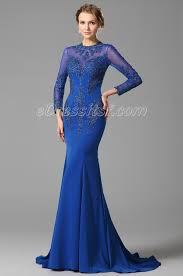 2015 new blue long sleeves lace applique evening dress formal gown