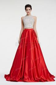halter red two piece sparkly prom dresses