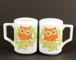 Vintage 70s Cute Owl Salt And Pepper Shaker White Ceramic Handles Kitsch Kitchen