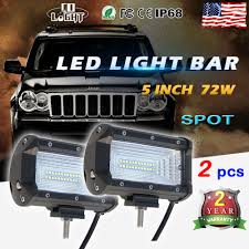 5 inch 72w led light bar flood pods boat truck jeep driving